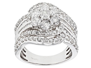 White Diamond 10k White Gold Cluster Ring 2.75ctw