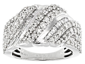 White Diamond 10k White Gold Crossover Ring 1.50ctw