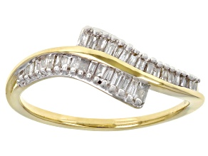 White Diamond 10k Yellow Gold Bypass Band Ring 0.25ctw