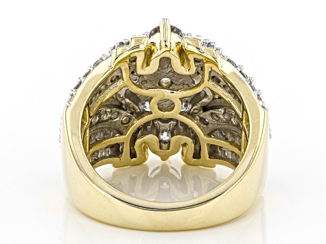 White Diamond 10k Yellow Gold Cluster Ring 3.00ctw
