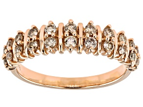 Champagne Diamond 10k Rose Gold Band Ring 0.50ctw
