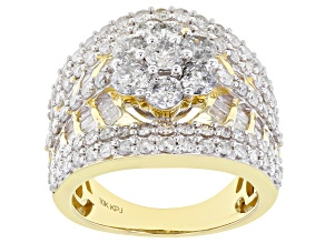 White Diamond 10k Yellow Gold Cluster Ring 3.25ctw