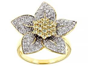 White And Natural Yellow Diamond 10k Yellow Gold Flower Cluster Ring 1.20ctw
