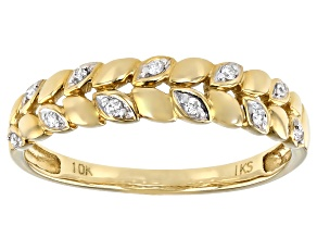 White Diamond Accent 10k Yellow Gold Band Ring