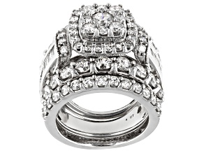White Diamond 14k White Gold Cluster Ring With 2 Matching Bands 5.03ctw
