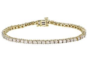 White Diamond 10k Yellow Gold Tennis Bracelet 2.00ctw