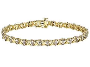 White Diamond 10k Yellow Gold Tennis Bracelet 2.00ctw