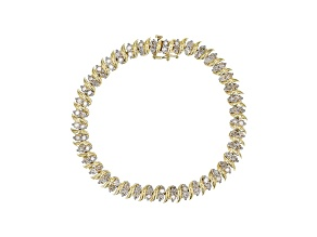 White Diamond 10k Yellow Gold Tennis Bracelet 4.00ctw