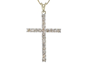 White Diamond 10k Yellow Gold Cross Pendant With 18