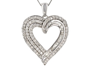 White Diamond 10k White Gold Heart Pendant With 18