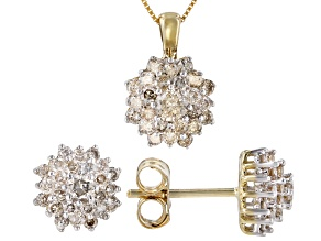 Diamond 10k Yellow Gold Cluster Earrings & Pendant Jewelry Set 1.00ctw