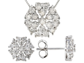 White Diamond 10k White Gold Cluster Earrings & Pendant Jewelry Set 1.00ctw