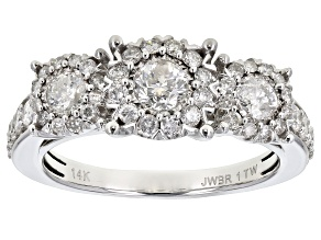 White Diamond 14k White Gold 3-Stone Ring 1.00ctw