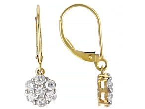 White Diamond 10k Yellow Gold Dangle Cluster Earrings 1.00ctw