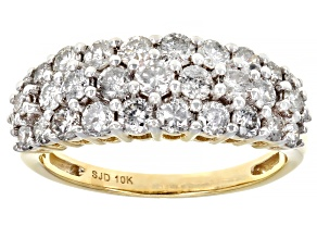 White Diamond 10k Yellow Gold Cluster Band Ring 1.50ctw