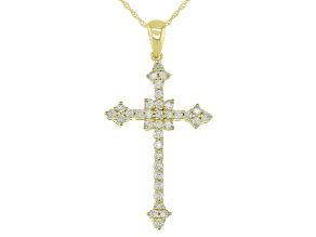 "Natural Yellow Diamond 10k Yellow Gold Cross Pendant With 18"" Rope Chain 0.50ctw"