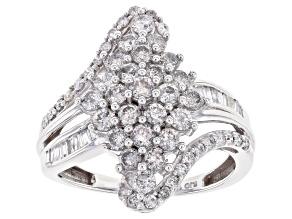 White Diamond 10k White Gold Cluster Bypass Ring 1.50ctw