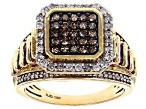 White And Champagne Diamond With Red Burmese Ruby 10k Yellow Gold Cluster Ring 1.20ctw
