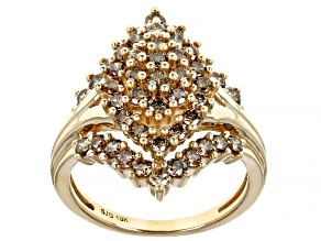 Champagne Diamond 10k Yellow Gold Cluster Ring 1.60ctw