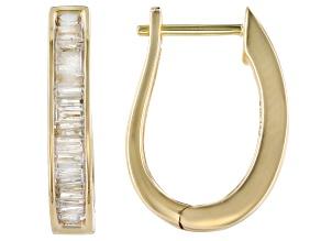 White Diamond 10k Yellow Gold Hoop Earrings 0.40ctw