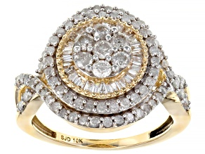 White Diamond 10k Yellow Gold Cluster Ring 1.30ctw