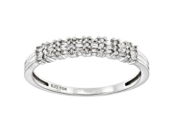 Picture of White Diamond 10k White Gold Band Ring 0.20ctw