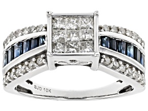 Blue Sapphire And White Diamond 10k White Gold Bridge Ring 1.70ctw