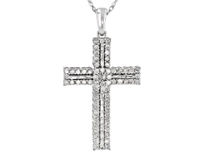 White Diamond 10k White Gold Cross Pendant With 18 Inch Rope Chain 0.75ctw