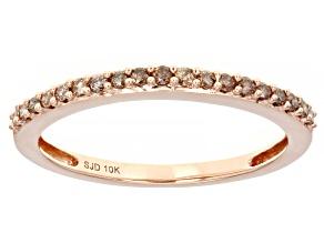Champagne Diamond 10k Rose Gold Band Ring 0.20ctw