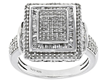 Picture of White Diamond Rhodium Over Sterling Silver Ring 0.90ctw