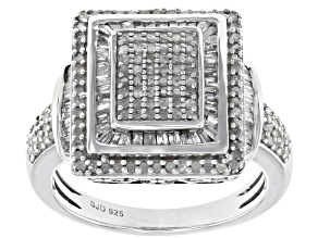 White Diamond Rhodium Over Sterling Silver Ring 0.90ctw