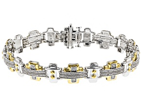 White Diamond Rhodium And 14k Yellow Gold Over Sterling Silver Mens Bracelet 0.10ctw