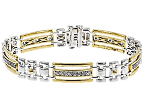 White Diamond Rhodium and 14k Yellow Gold Over Sterling Silver Mens Bracelet 1.00ctw