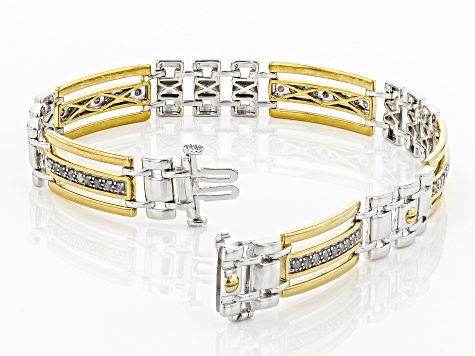 White Diamond Rhodium and 14k Yellow Gold Over Sterling Silver Gents Bracelet 1.00ctw
