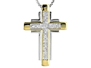 White Diamond Rhodium And 14k Yellow Gold Over Sterling Silver Gents Pendant 0.50ctw