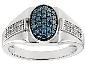 Blue And White Diamond Rhodium Over Sterling Silver Mens Cluster Ring 0.50ctw