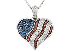 Blue, Red And White Diamond Rhodium Over Sterling Silver Pendant With Chain 0.30ctw