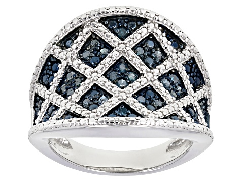 Blue Diamond Rhodium Over Sterling Silver Ring 0.29ctw