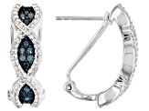 Blue Diamond Rhodium Over Sterling Silver Earrings 0.24ctw