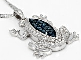 Blue Diamond Rhodium Over Sterling Silver Pendant With Chain 0.20ctw
