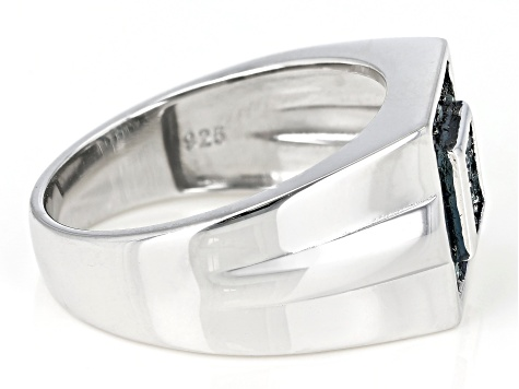Blue Diamond Rhodium Over Sterling Silver Mens Cluster Ring 0.38ctw