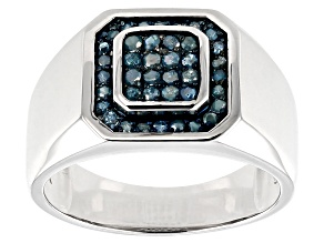 Blue Diamond Rhodium Over Sterling Silver Mens Cluster Ring 0.48ctw