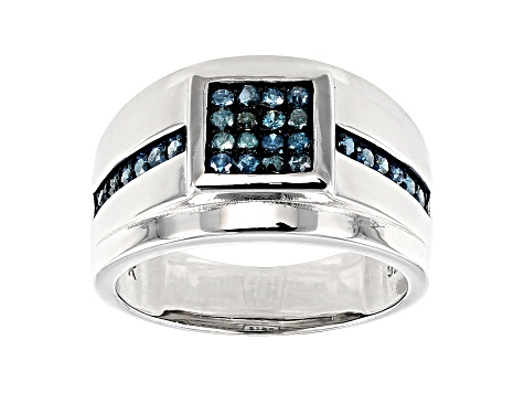 0.33CTW BLUE DIAMOND FASHION MENS RING Available Sizes 5 to 11