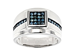 Blue Diamond Rhodium Over Sterling Silver Mens Cluster Ring 0.42ctw