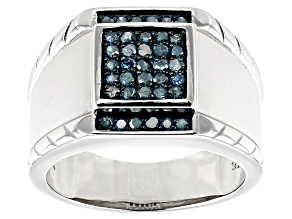 Blue Diamond Rhodium Over Sterling Silver Mens Cluster Ring 0.45ctw