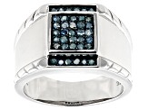 Blue Diamond Rhodium Over Sterling Silver Gents Ring 0.45ctw
