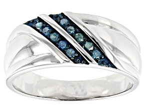 Blue Diamond Rhodium Over Sterling Silver Gents Ring 0.31ctw