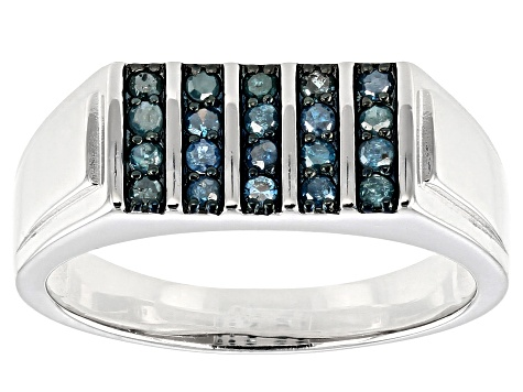 0.33CTW BLUE DIAMOND MENS RING