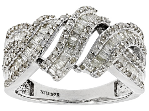 White Diamond Rhodium Over Sterling Silver Ring .85ctw