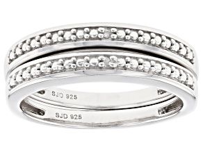 Diamond Accent Rhodium Over Sterling Silver Set of 2 Band Rings